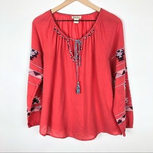 Lucky Brand Embroidered boho oversized blouse M